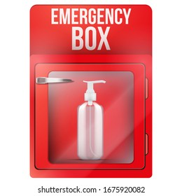 Emergency box with toilet roll paper in case of breakable glass. Vector illustration Isolated on white background.