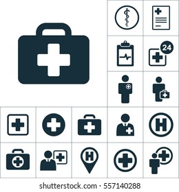 emergency briefcase icon, medical signs set on white background