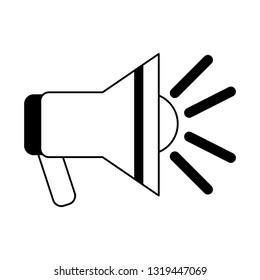 Emergency bullhorn symbol black and white