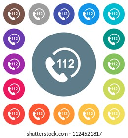 Emergency call 112 flat white icons on round color backgrounds. 17 background color variations are included.