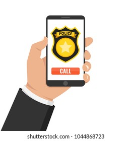 Emergency call 911 concept. Hand holding mobile phone with emergency number 911 on the screen. Vector illustration.