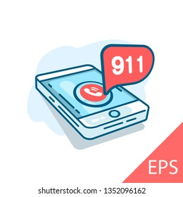 Emergency call 911 concept. Mobile phone on the screen. Vector modern line design illustration icon