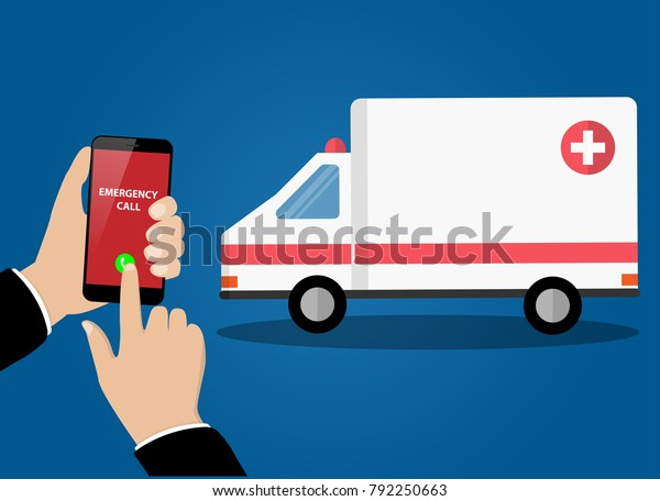 Emergency Call Ambulance Hands Holding Smartphone Stock