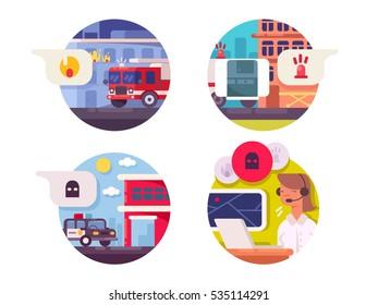 Emergency call icons set