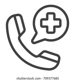 Emergency call line icon, medicine and healthcare, medical support sign vector graphics, a linear pattern on a white background, eps 10.