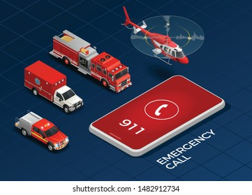 Emergency call and transport with helicopter ambulance fire engine isometric set isolated on blue background 3d vector illustration