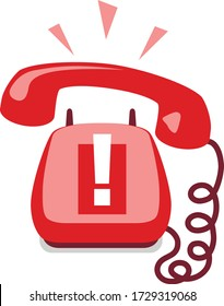 Emergency call. Urgent call. Old fashion home phone. Hang up phone. Answer a call. Ring off. Stay on the line. Handset on the wire. Technical support. Warning notification. Hotline. Standby phone.