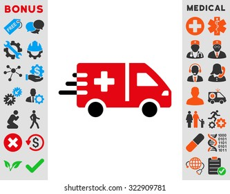 Emergency Car vector icon. Style is bicolor flat symbol, intensive red and black colors, rounded angles, white background.