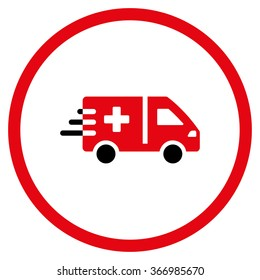 Emergency Car vector icon. Style is bicolor flat circled symbol, intensive red and black colors, rounded angles, white background.
