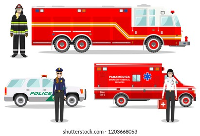 Emergency concept. Detailed illustration of firefighter, doctor, policewoman with fire truck, ambulance and police car in flat style on white background. Vector illustration.