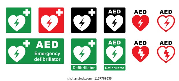 Emergency defibrillator AED AID CPR location signs Stop safety first life icons Vector staff medical logo symbol Automated externalicon label icon Medic bag kit station inside for resuscitation doctor