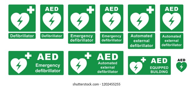 Emergency defibrillator AED icon icons Medical logo cpr Vector eps symbol location automated external Medical signs sign heart electricity symbol flat safe public signs life cross safety first plus