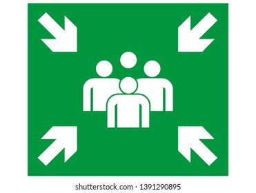 emergency evacuation assembly point signboard. green color. safety warning plate vector. warning illustration.