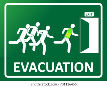 Emergency evacuation exit icon. Group of people silhouette running toward exit. EPS10 vector illustration for poster, sign, symbol, template, banner, print. Safety direction signboard.