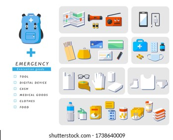 emergency evacuation goods vector set