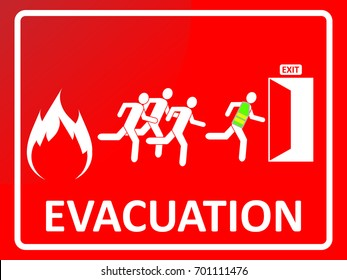 Emergency evacuation sign. People silhouette running toward exit door from fire. EPS10 vector illustration for poster, sticker, sign, symbol, icon, banner, template, print.