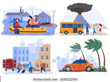 Emergency evacuation victims of natural disasters, flood, earthquake and volcano eruption, vector illustration. People rescue from storm, hurricane, typhoon. Extreme weather cataclysm natural disaster