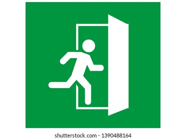 emergency exit door vector. direction sign. green color. safety illustration