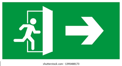 emergency exit door vector. direction arrow sign. green color. safety illustration