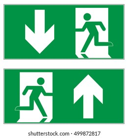 Emergency exit downward, emergency exit upward, escape route signs, vector illustration.
