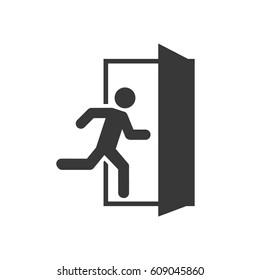 Emergency exit, escape route sign. Vector illustration