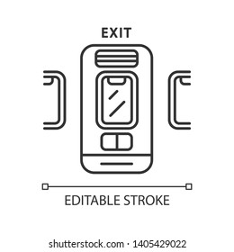Emergency exit linear icon. Thin line illustration. Contour symbol. Vector isolated outline drawing. Editable stroke