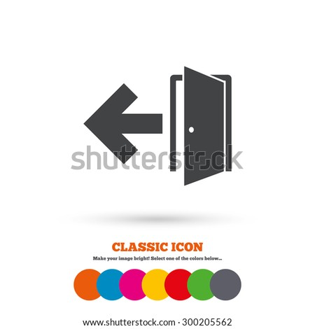 Emergency Exit Sign Icon Door Left Stock Vector Royalty Free