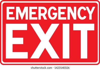 Emergency exit sign - red isolated