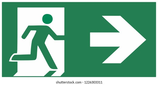 emergency exit sign  right - emergeny exit vector illustration