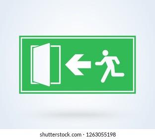 Emergency exit sign vector. illustration symbol green door