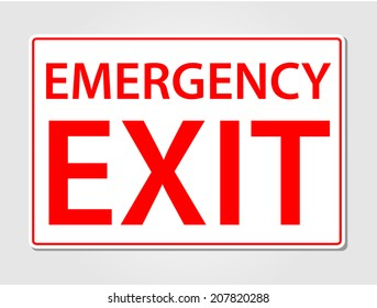 Emergency exit sign vector illustration