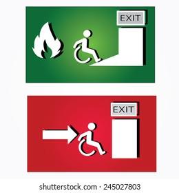 Emergency fire exit door and exit door,exit fire vector,disabled fire exit