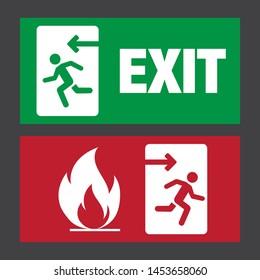 Emergency fire exit door and exit door. Eps 10 vector illustration.