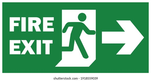 emergency fire exit sign with running man icon to door. green color. arrow vector. warning sign plate