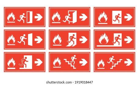 emergency fire exit sign set, exit door label