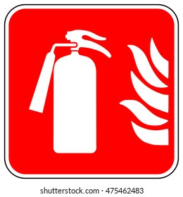Emergency fire extinguisher sign , white firefighting equipment icon on a red square background , vector illustration