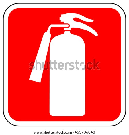 Emergency Fire Extinguisher Sign White Firefighting Stock Vector