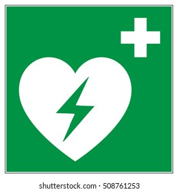Emergency first aid defibrillator sign. White heart icon and white cross icon on a green square background, vector illustration.