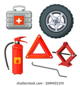 Emergency first aid kit in car, fire extinguisher, emergency sign