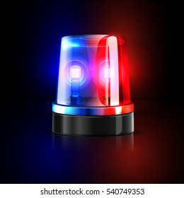 Emergency flashing police siren vector illustration. Police signal flasher isolated on black background.