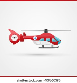 Emergency helicopter icon. Rescue chopper illustration isolated.  Salvage copter logo. Red  rotor plane.