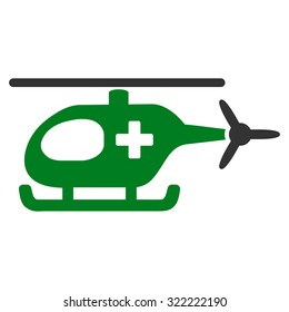 Emergency Helicopter vector icon. Style is bi-color flat symbol, green and gray colors, rounded angles, white background.