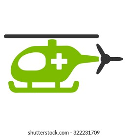 Emergency Helicopter vector icon. Style is bi-color flat symbol, eco green and gray colors, rounded angles, white background.
