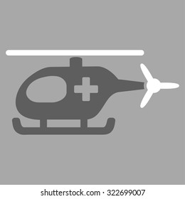 Emergency Helicopter vector icon. Style is bicolor flat symbol, dark gray and white colors, rounded angles, silver background.