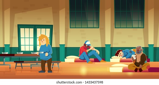 Emergency housing, night shelter or temporary residence for homeless people cartoon vector concept with poor men and woman lying on mattress on floor, eating and drinking warm food illustration
