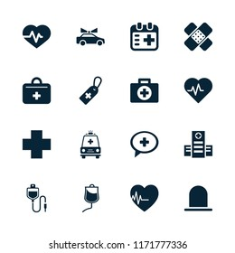 Emergency icon. collection of 16 emergency filled icons such as siren, heartbeat, hospital, medical cross tag, drop counter. editable emergency icons for web and mobile.