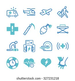 Emergency icon set. Included the icons as AED, CPR, ambulance, emergency help, shock, medical and more.
