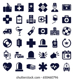 Emergency icons set. set of 36 emergency filled icons such as siren, aid post, heartbeat, case with heart, first aid kit, medical cross, hospital, medical cross tag