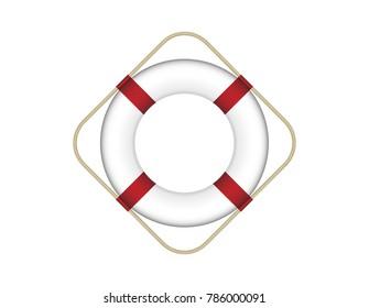 Emergency Lifebuoy Vector Illustration Isolated on White Background