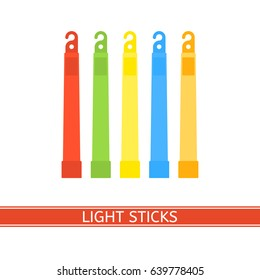 Emergency light stick vector icon. Survival glowing stick isolated on white background in flat style. Glowstick for camping, hiking, power outage and parties.